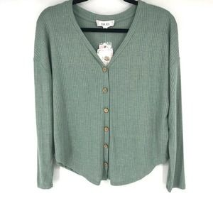 Smokey Sage Tie-Front Button-Up Top